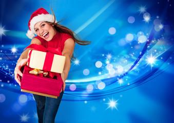 missis santa 15/Santagirl überreicht Geschenke vor Glitzerhinte