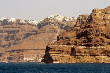 Panoramic view of Santorini's city on the volcanic caldera