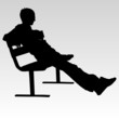 man sitting on a bench and resting vector silhouette