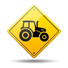 Señal amarilla simbolo tractor