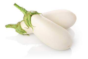 Two white eggplants