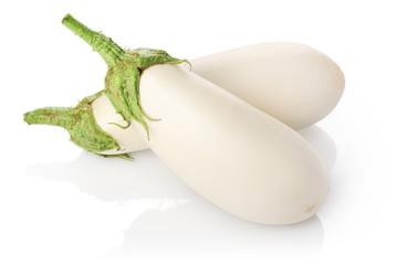 Two white eggplants