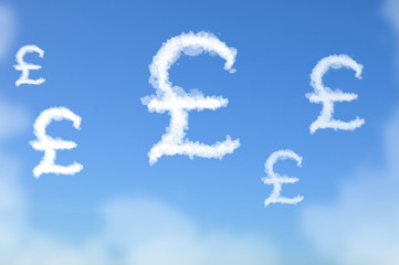 Cloud shaped as UK Pound sterling