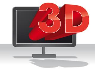 3D Logo fliegt aus Bildschirm Vektor