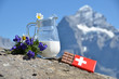 Swiss chocolate, jug of milk and Apline flowers. Switzerland