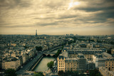 Fototapety View on Paris skyline from Notre Dame de Paris