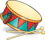 Toy drum and drumsticks. Vector illustration