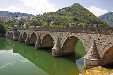 Old bridge on Drina river - Visegrad, Balkans.