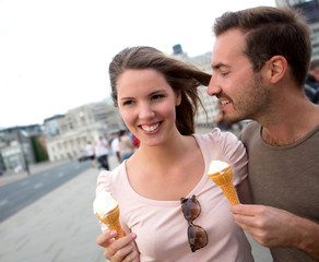 Couple enjoying an ice cream