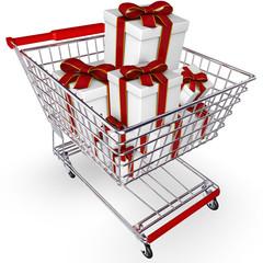 Einkaufskorb mit Geschenken