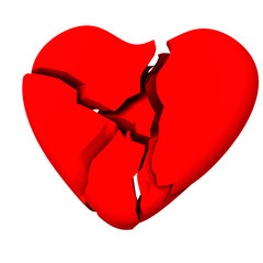 Broken red heart 3d
