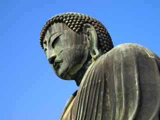 Details of the Giant Buddha statue of Kamakura