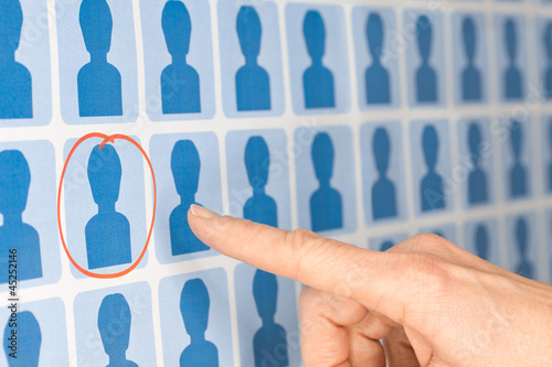 Finger Pointing to Selected Staff Candidate