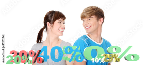Happy couple with percentage, isolated on white background.