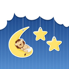 baby shower - cloud, moon, star and little lion