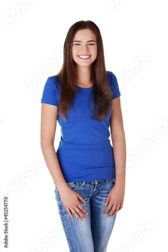 Happy young student woman