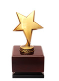 golden star award on the white background