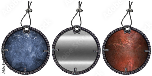 Set of Grunge Circular Metal Tags - 3 items