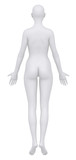 Female body in anatomical position posterior view clipping path poster