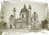 Vector drawing of Karlskirche in Vienna, Austria