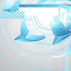 Abstract futuristic 3d high tech design with stylized copy space