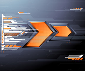 Abstract futuristic background with orange arrows - Vector