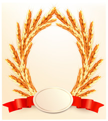 Ears of wheat with label. Vector.