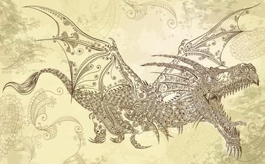 Henna Tattoo Dragon Doodle Sketch Tribal Vector