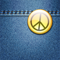 Peace Badge on Denim Fabric Texture Jacket