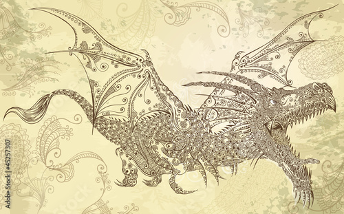 Henna Tattoo Dragon Doodle Sketch Tribal Vector