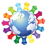 People together around the world vector