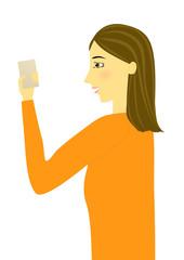スマートフォンを操作する女性のイラスト