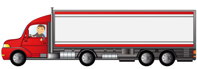 heavy truck with man with space for text