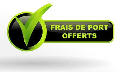frais de port offerts sur bouton validé vert et noir