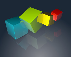 Colorful cubes on dark background
