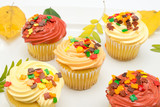 Cupcakes with autumn decoration