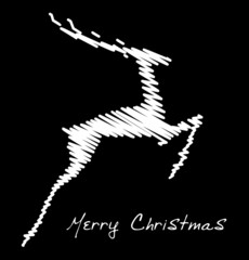 Hand drawn jump deer, Christmas design element