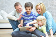 Family with gadgets
