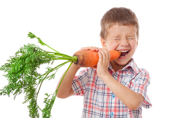 Little boy biting the carrot