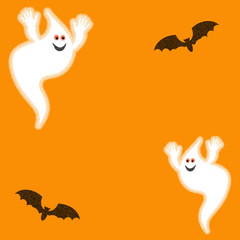 Halloween ghosts and bats