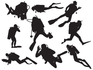vector scuba diving silhouette
