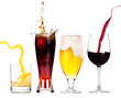 Quadro Collection of different images of alcohol isolated