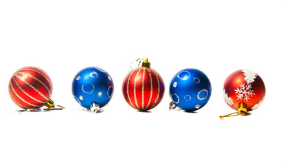 Christmas red and blue toys