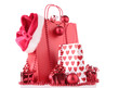 red shopping bag and decoration