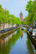 canals and old cathedral of Delft, Holland