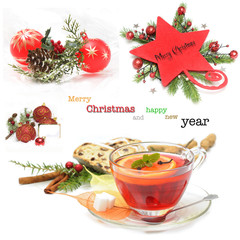 Group of Christmas objects isolated on white background