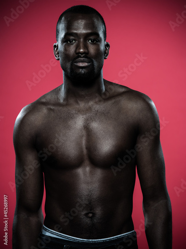 handsome topless young african man
