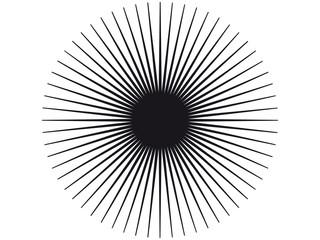 Strahlende schwarze Vektor-Sonnenkontur – freigestellt