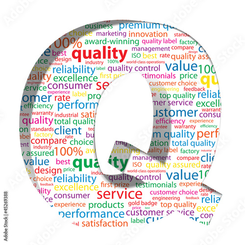 """Q for QUALITY"" Tag Cloud (customer service satisfaction label)"