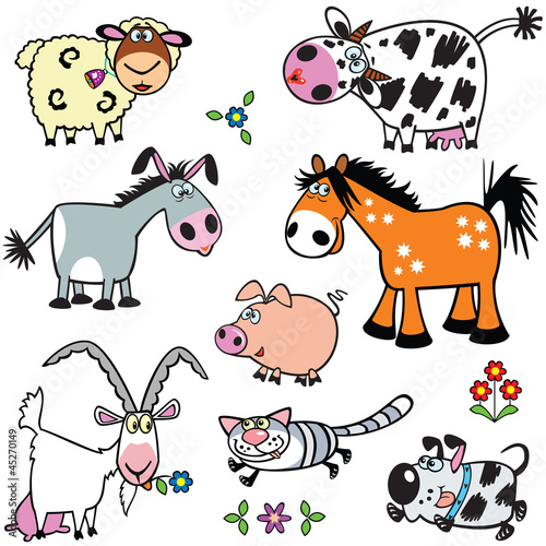 set with cartoon farm animals